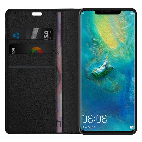 Leather Wallet Case & Card Holder Pouch for Huawei Mate 20 Pro - Black